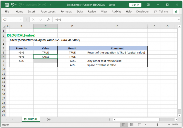 Check if cell returns a logical value in Excel