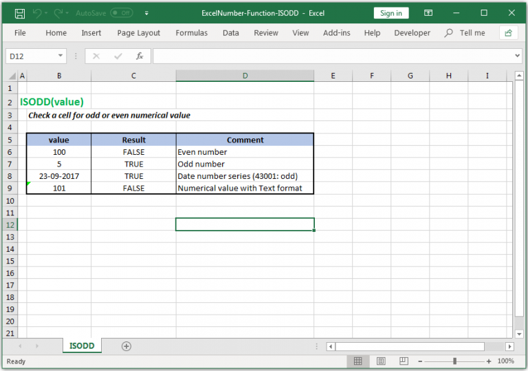 Check a cell for odd or even numerical value in Excel