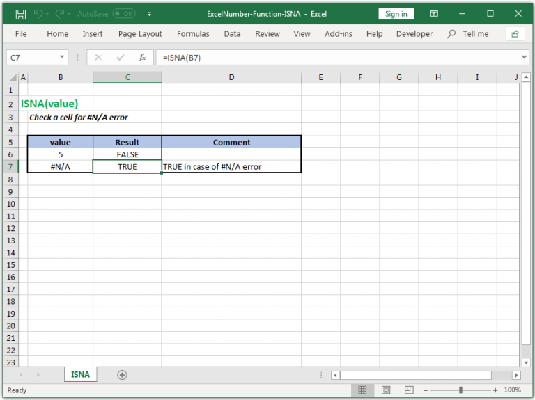 Check a cell for #N/A error in Excel