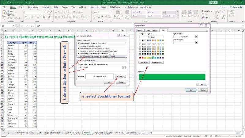 Create your own conditional formatting formulas in Excel