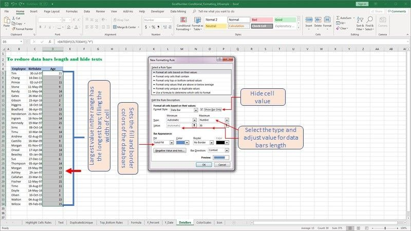 Modify the length of the data bars by altering the rules of the conditional format in Excel