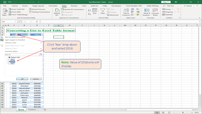 Filtering our data table in Excel.