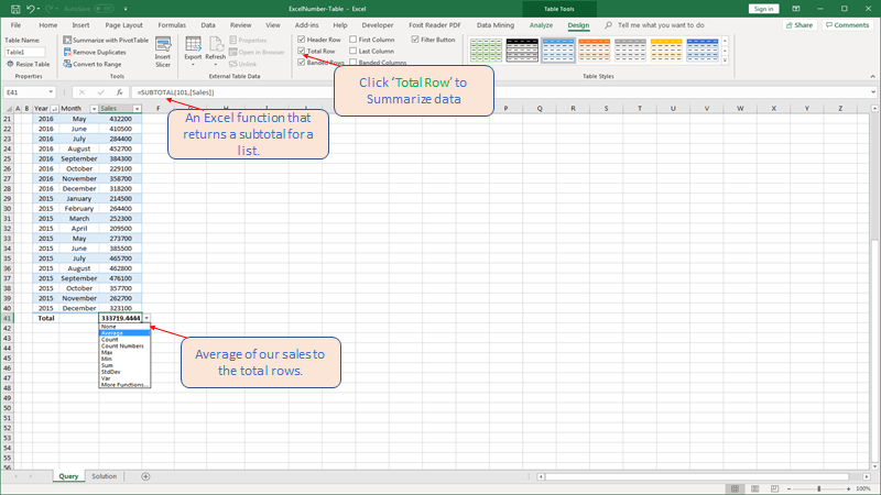 Click Total Row and summarize data in Excel Table