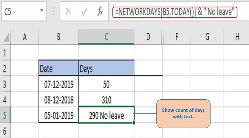 show text along with count of days.