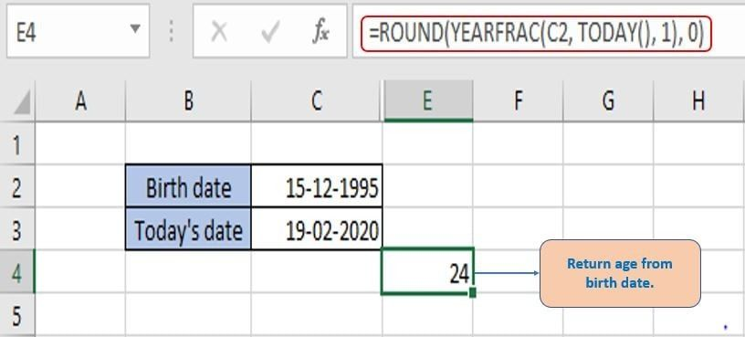 Get number of years passed after rounding.