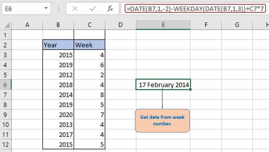 To get specific date from week number.
